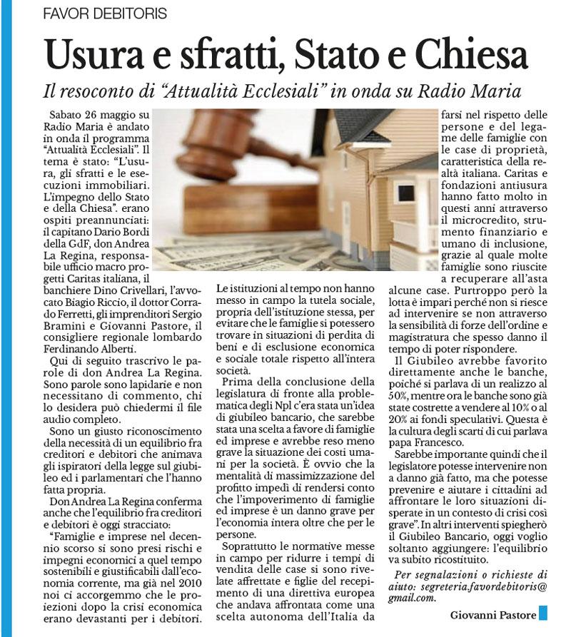 """Usura e sfratti, Stato e Chiesa Il resoconto di """"Attualità Ecclesiali"""" in onda su Radio Maria"""