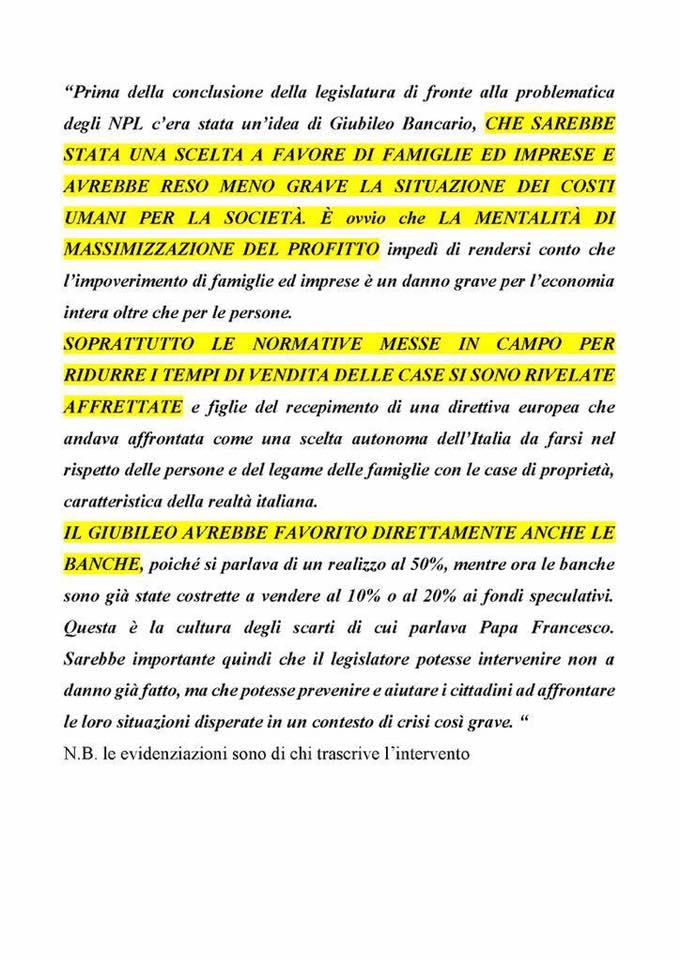 DON ANDREA LA REGINA, RESPONSABILE NAZIONALE MACRO PROGETTI DELLA CARITAS, SOSTIENE IL GIUBILEO BANCARIO